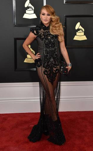 Paulina Rubio on the 59th annual Grammy Awards red carpet in Los Angeles on February 12, 2017.