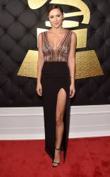 Katherine McPhee on the 59th annual Grammy Awards red carpet in Los Angeles on February 12, 2017.