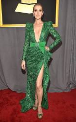 Celine Dion on the 59th annual Grammy Awards red carpet in Los Angeles on February 12, 2017.