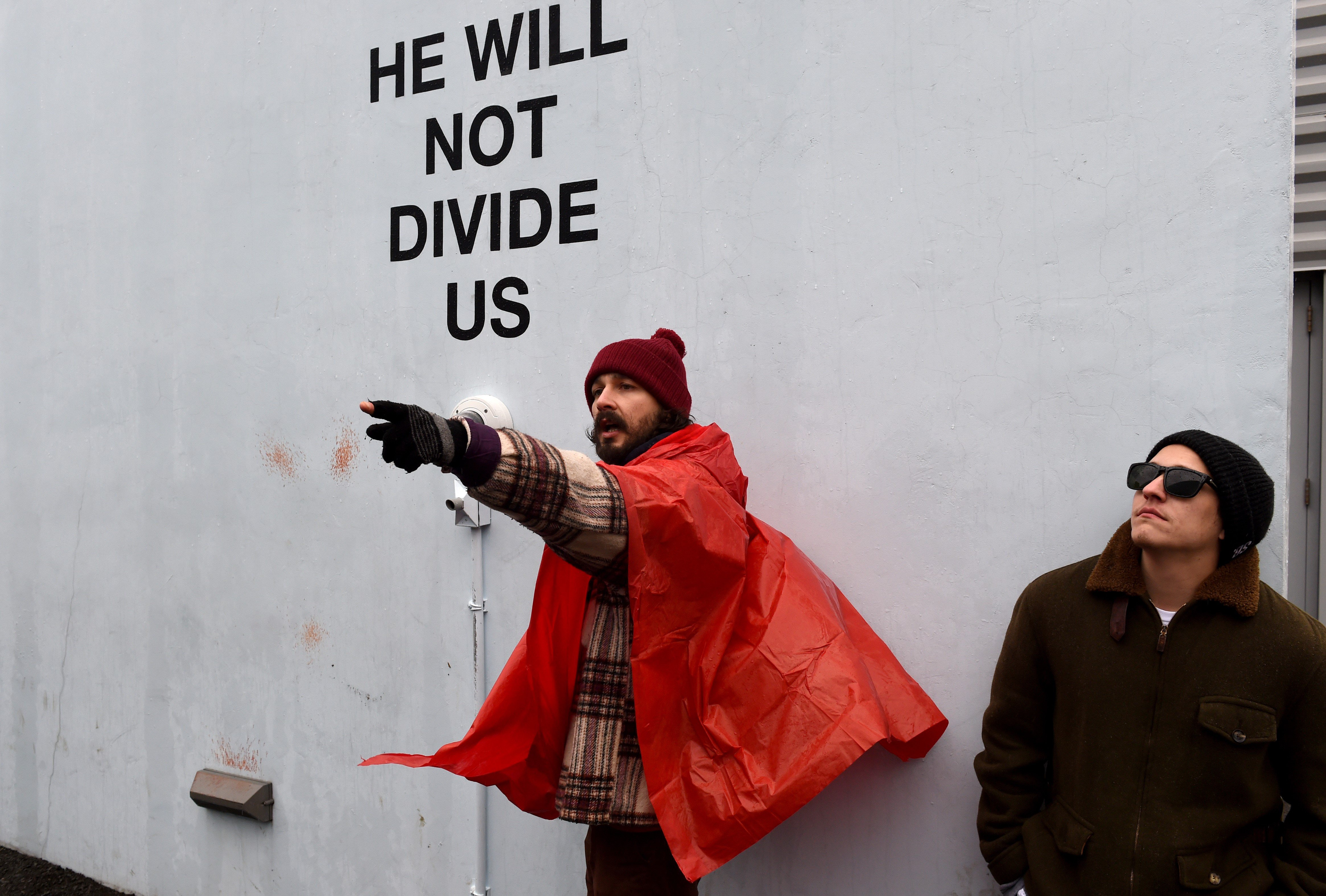 Shia LaBeouf's 'He Will Not Divide Us' Trump Protest Shut Down Due to Violence